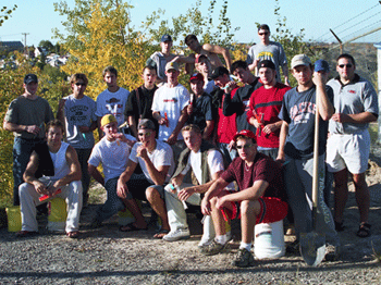 Flin Flon Bombers help out at Grandview site in 2001